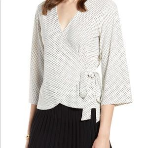 Halogen Wrap Top- Ivory and Black Mini Dot